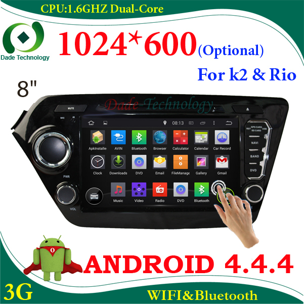 2 din car dvd player Android 4.4 for KIA K2 RIO 2din car multimedia car radio bluetooth dvd gps wifi 3g HD 1024*600 (optional)(China (Mainland))