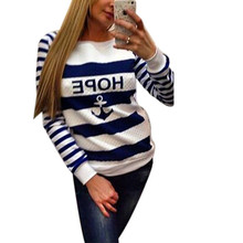 Fashion Women Hoodie Sweatshirts Pullover Anchor Print Striped Casual Blouse Tracksuit Long Sleeve Cotton Loose Tops Shirts(China (Mainland))
