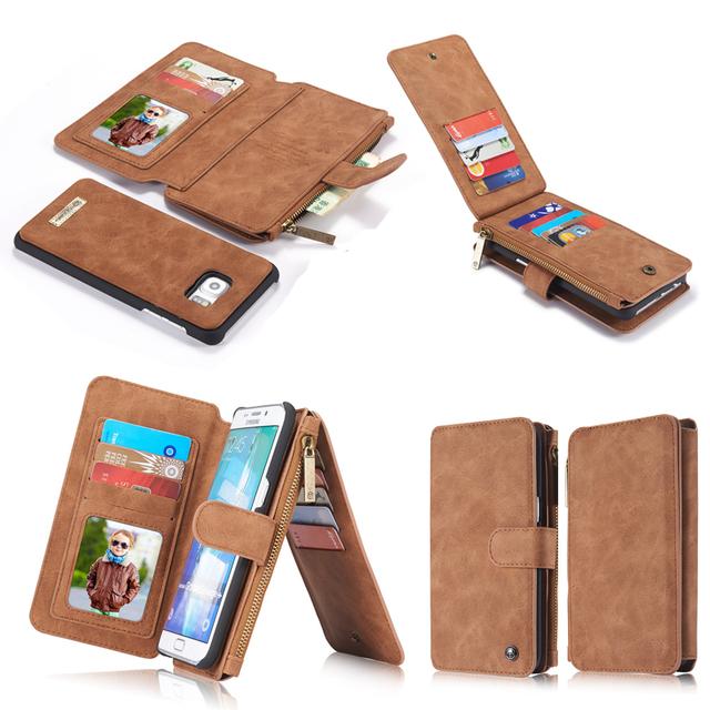 Натуральная Кожа Мобильный Телефон Бумажник Сумка Обложка Case Для Apple iPhone 5 5S SE 6 6 s Плюс Samsung Galaxy S6 S7 Edge Plus Телефон случаях