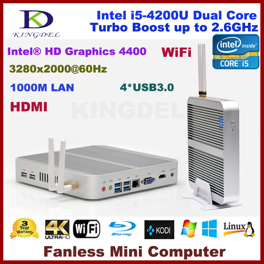 8GB RAM+64G SSD fanless core i5-4200U dual core embedded linux pc computer 4*USB 3.0 ports HDMI, 4K HD HTPC,3D game computer(China (Mainland))