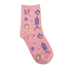 kawaii winter lady socks with cotton blue pink black grey character pattern breathable knitted womens socks #151127_E42