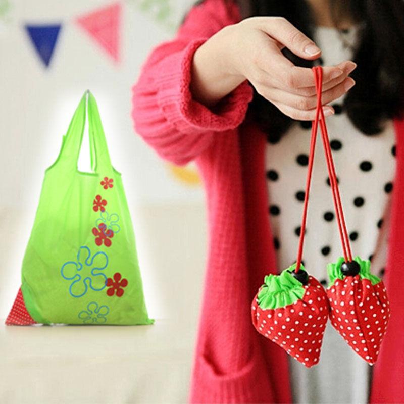 New Reusable Strawberry Shopping Bags Foldable Tote Eco Storage Handbag Nylon