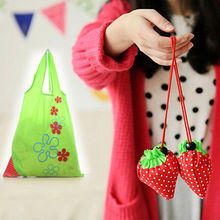 New Reusable Strawberry Shopping Bags Foldable Tote Eco Storage Handbag Nylon