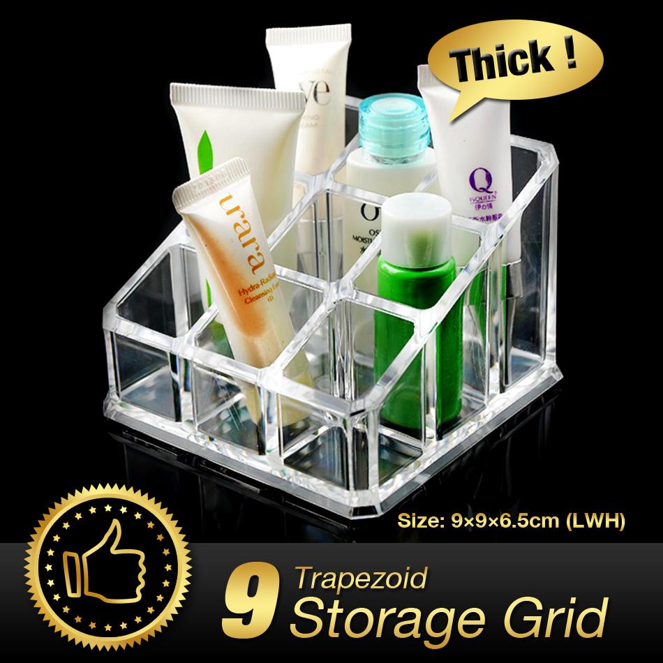Cheap+49%off Acrylic Makeup Organizer 9 Grids Trapezoid Makeup Cosmetic Organizer Lipstick Holder Display Stand Box EQC349(China (Mainland))