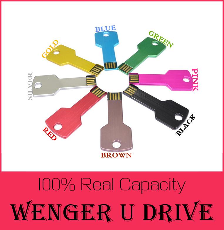 Wholesale Price Colorful Metal Key shape usb flash drive 512GB 16GB 32GB 64GB pen drive pendrive U disk Thumb memory stick 128GB(China (Mainland))