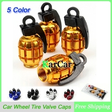 1Sets Universal Aluminum Grenade Design Car Wheel Tyre Valve Caps, Bicycle Tire Air Valve Cap(China (Mainland))