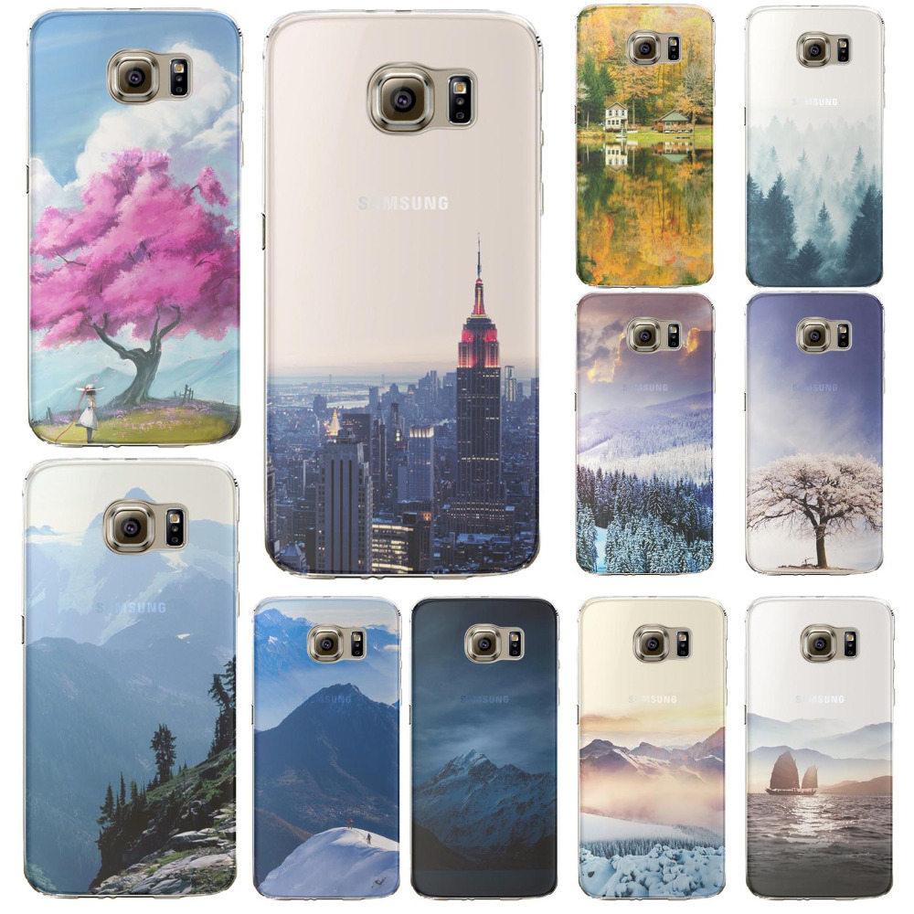 Phone Case Cover For Samsung Galaxy S6 edge plus Soft Silicon Print Beautiful Scenery Mountain Ocean Semi transparent Back Case(China (Mainland))