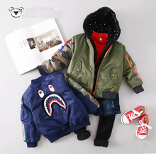 2016 Promotion Reima Baby Bomber Jacket Boy's Shark Head Epaulette Printed Full Zipper Coat Air Force Child Outwear Kids Trench(China (Mainland))