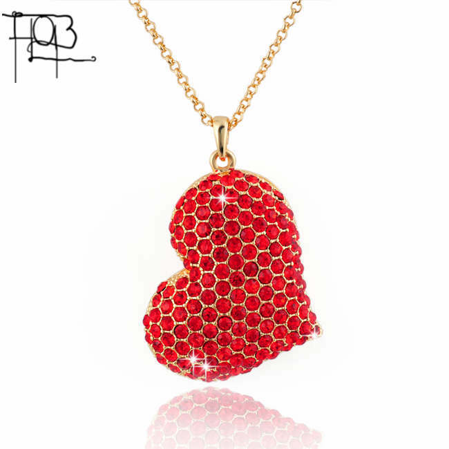 18K Gold Rhinestones Filled Red Heart Pendant Long Chain Necklace Long Necklace fashion necklaces for women 2015(China (Mainland))