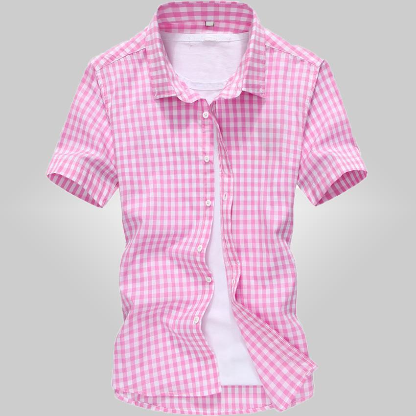 Free shipping 2015 summer High quality plaid shirts Mercerized cotton stretch shirt short sleeve men shirt Plus size M- 5XL 28cl(China (Mainland))