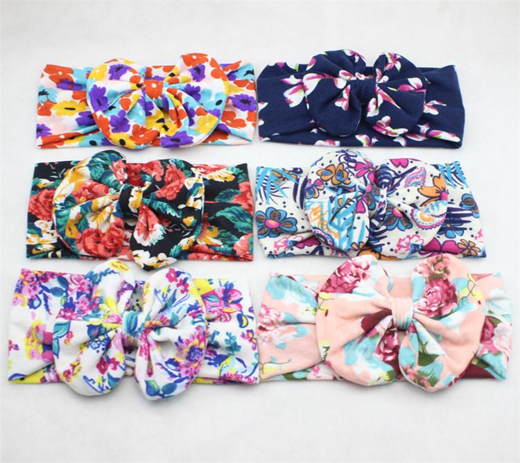 2015 new color printing big bow baby headband flower pattern autumn winter fashion cotton cloth knot headwrap elastic headbands(China (Mainland))