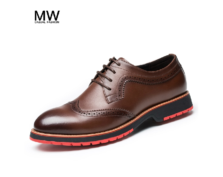 2015 new Genuine Leather Men Brogue Shoes Business Dress Lace flat British Style Brown Black blue size38-44 - left store