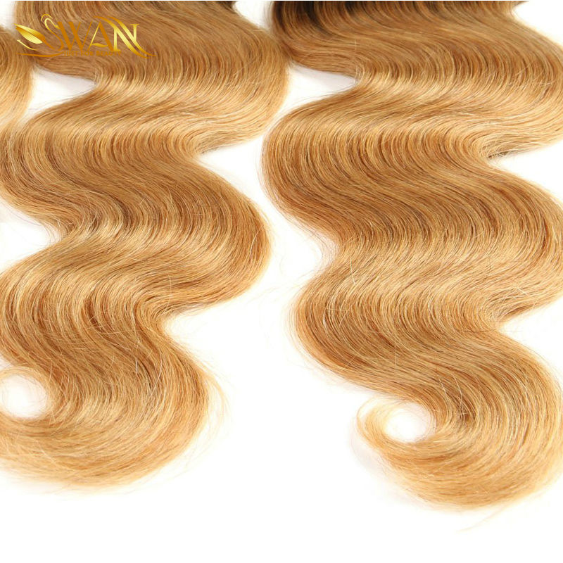 9A Indian Unprocessed Virgin Hair Ombre Blonde Hair Weave Bundles Indian 1b/27 Virgin Hair 3 Bundles Ombre Hair Extension