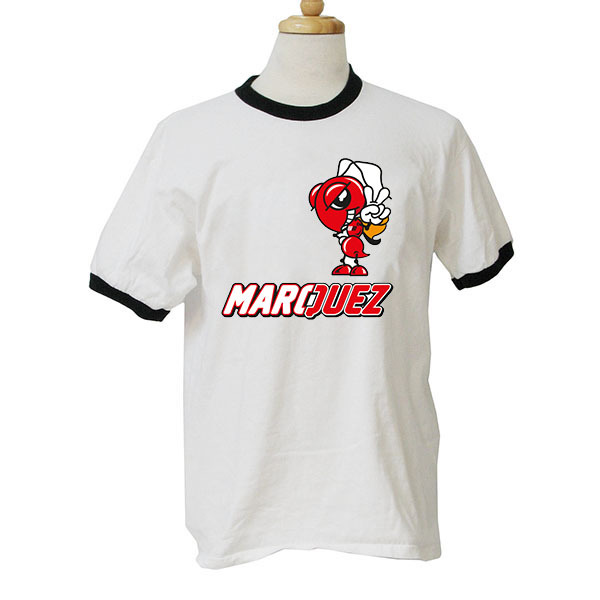 Free Shipping Ringer T Shirt Marc Marquez Fashion Men Best Quality Clothes(China (Mainland))