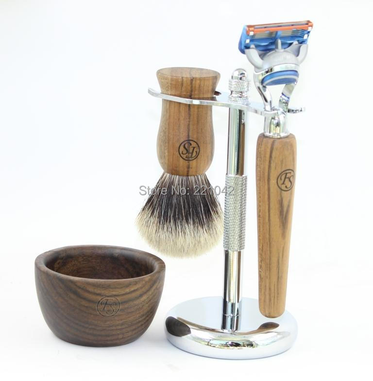 Frank Shaving Ebony shaving set,Silvertip badger brush+Five-blade razor+electroplating metal stand+bowl+free1blade