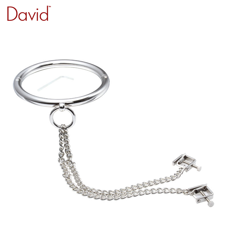 David Stainless Metal Neck Collar+Adjustable Nipple Clamps Restraint Bondage Clips Slave BDSM Costume Sex Product Sex Toy<br><br>Aliexpress