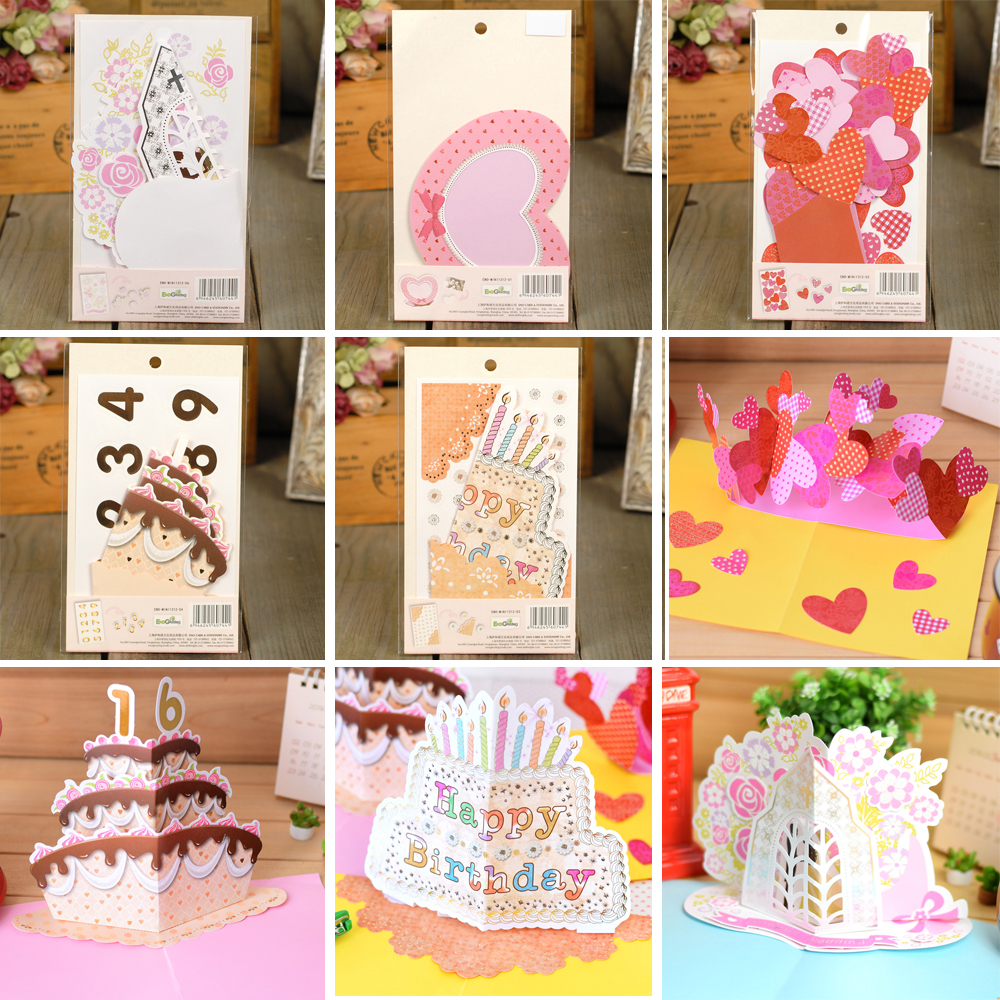 Cute pop up card with stickers birthday wedding valentine for Wedding gift decoration