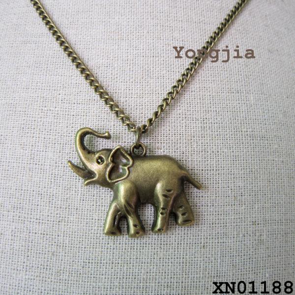 2014 New Fashion Girls Cute Elephant Pendant Necklace Men Antique Long Chain Retro Animal Necklace Pendant Women Custome Jewelry(China (Mainland))