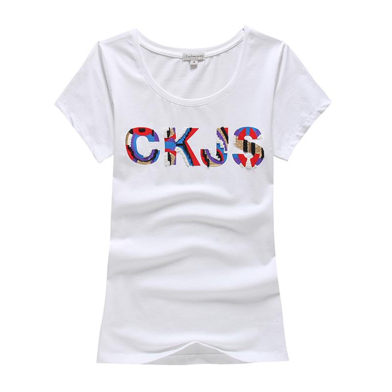 2016 new brand women T shirt CKJS monogram diamond bordered T-shirts for women cotton Women Tops solid polo Shirt(China (Mainland))