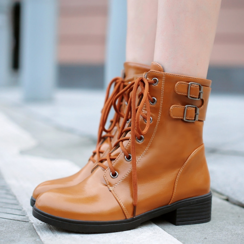 2016 comfortable metal buckle ankle boots for