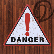 Buy Danger 34 cm Warn Signs Shabby Chic Metal Plate Bar Pub Home Cafe Wall Decoration Triangle Tin Plaque Vintage Home Decor for $10.71 in AliExpress store