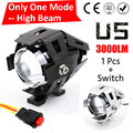 One Mode Hgih Beam 1 PCS 125W 2 Color Motorcycle Motorbike Headlight 3000LM CREE Chips U5