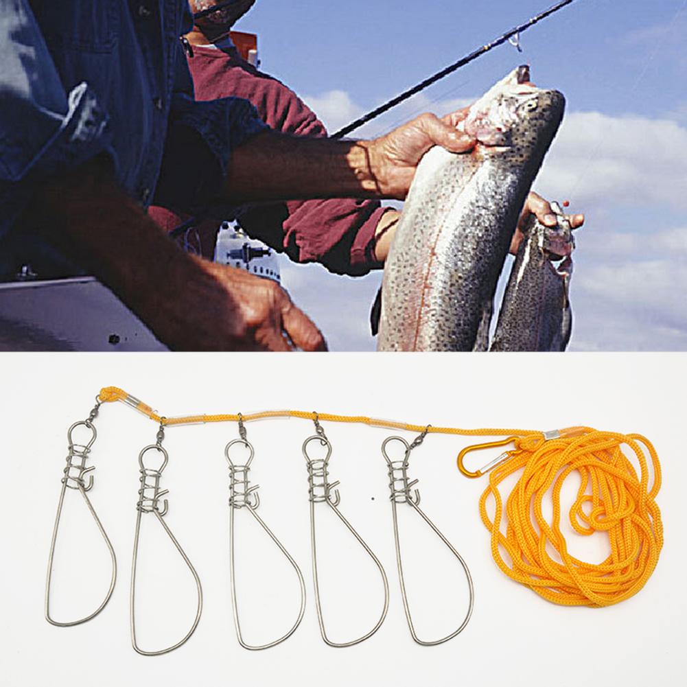 Лидер продаж 5 м Пряжка нержавеющая сталь живой рыбы Кукан с карабином Стрингер aeProduct.getSubject()