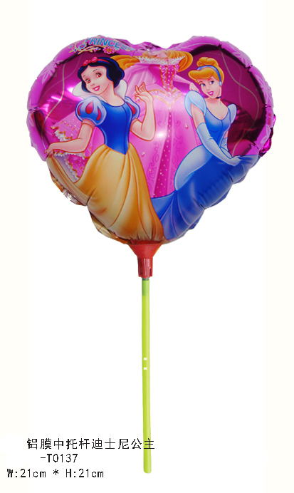 Hot sell 20pcs/lot 21*21cm princess foil balloon with stick for litter girls cartoon helium balloon free shipping(China (Mainland))