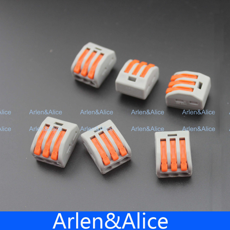 100Pcs PCT-213 3 Pin Universal compact wire wiring connector conductor terminal block with lever<br><br>Aliexpress