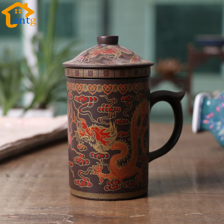 300ML Chinese Yixing Tea Cup,Purple Clay Dragon and Phoenix Tea Pot with Filter/Infuser for Coffee & Tea Sets(China (Mainland))