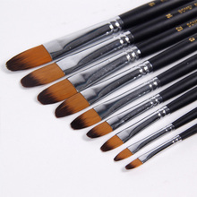 9pcs/Set Painting Brush Oil Paint Nylon Water Color Painting Brush Acrylics Art for Supplies Stationery
