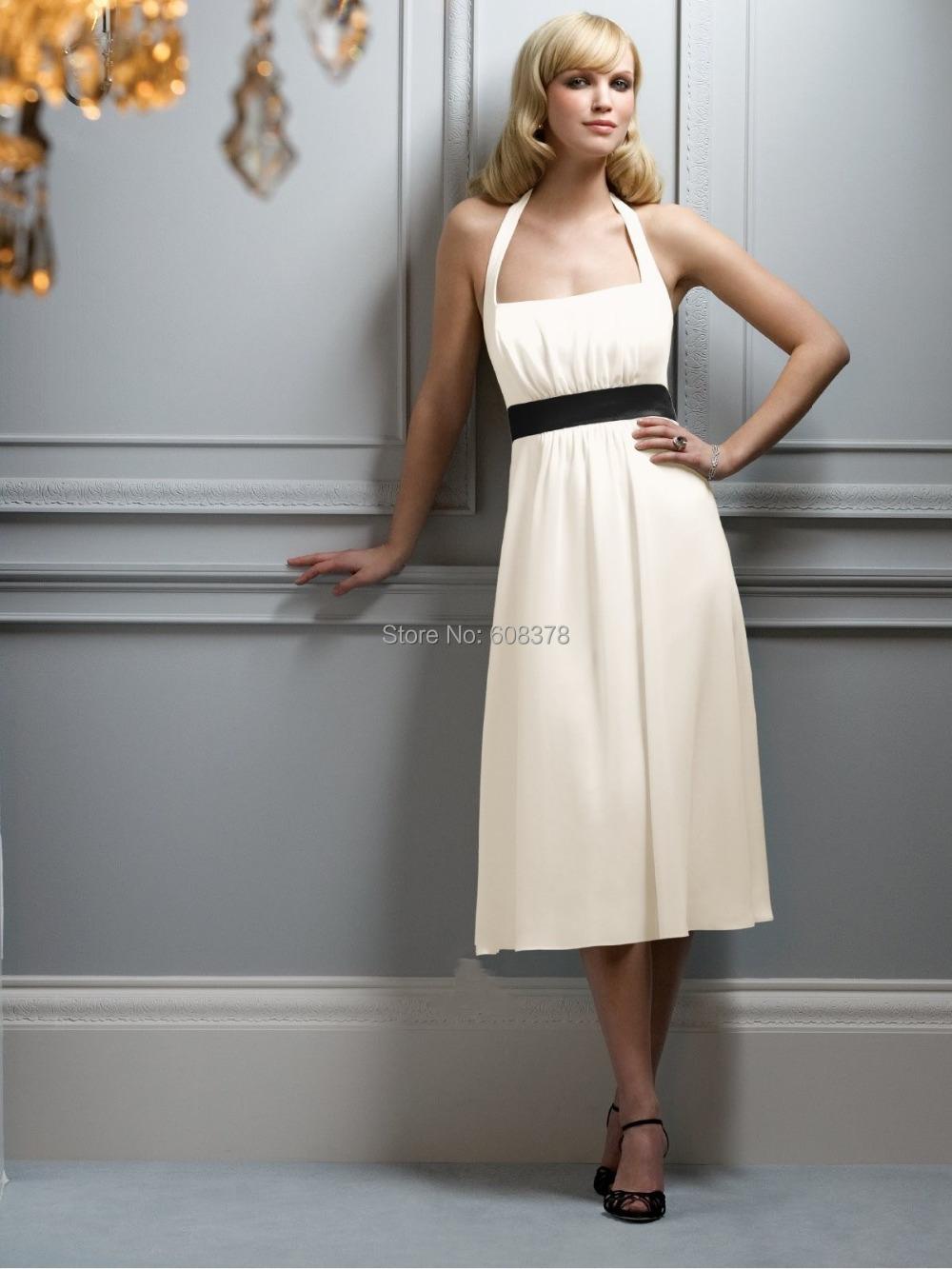 Freeshipping halter ruffles tea length chiffon cheap short for Short halter wedding dresses