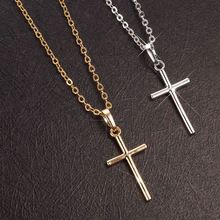 Buy New European Fashion Trendy Punk Simple Cross Charms Pendant Necklace men women Gold-color Link Chain Necklace Pendants for $1.43 in AliExpress store