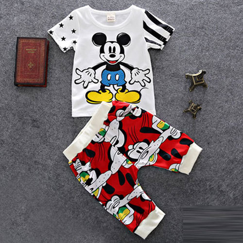 New arrival 2015 summer Minnie Mouse newborn infants baby boys clothing sets suits for baby boy clothes casual sports suit set