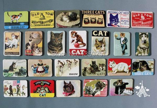 home decoration 24 PCS cartoon cat refrigerator fridge magnets set animal cat designs magnetic stickers free shipping(China (Mainland))