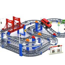 Kids Multilayer Electric Rail Car Construction Vehicles Toy Assembled Puzzle Train Track Building Blocks Educational Toys Gift(China (Mainland))