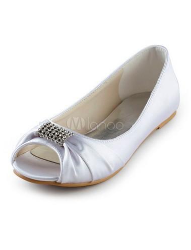 White Satin Rhinestone Peep Toe Wedding Flat Shoes(China (Mainland))