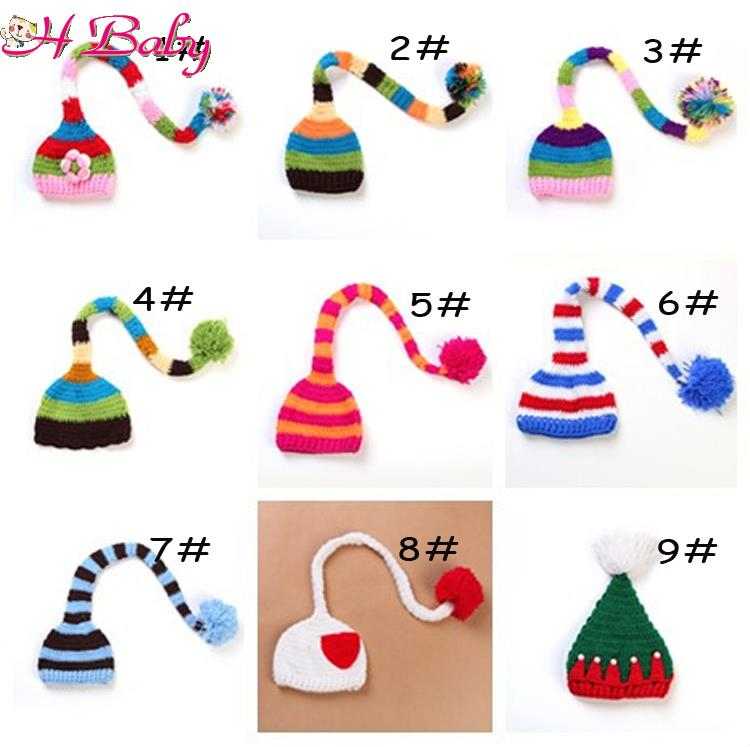 Retail Crochet Baby ELF Hats Infant Baby Knitted Christmas HAT Beanie Kids Photography Props 1pc Free Shipping MZS-14056(China (Mainland))