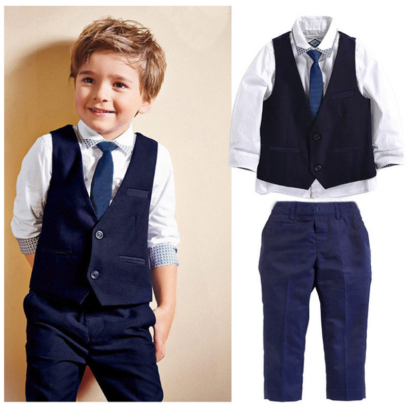 2016 New Boys Formal Suits for Weddings Boys Formal Party Gentleman Suits Tops Shirt Waistcoat Tie Pants 4PCS(China (Mainland))
