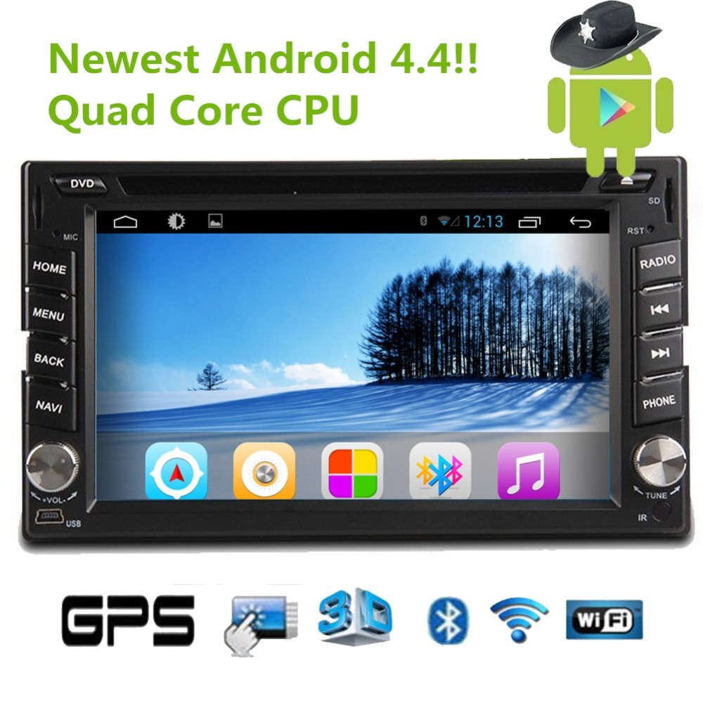 Newest! Android 4.4 Quad Core CPU Car DVD Player with Capacitive Multi-touch Screen WiFi Bluetooth Sub Mic IPod Stereo Video MP3(China (Mainland))