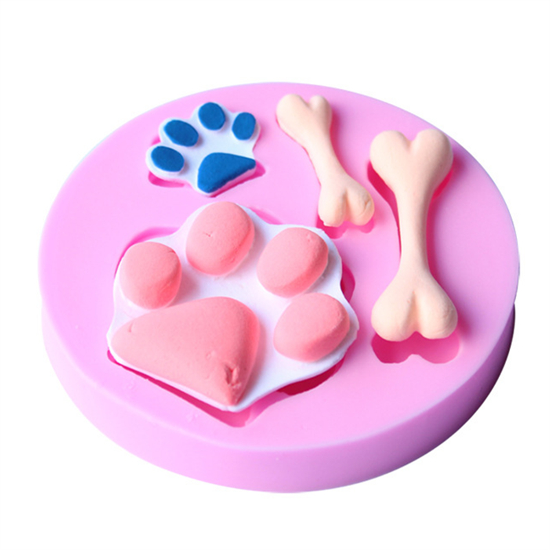 The dog footprint and bones cake molds chocolate mould for the kitchen baking clay mold Sugarcraft Decoration Tool D470(China (Mainland))