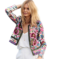 Women Spring Autumn Ethnic Long Sleeve Jacket Female Floral Printing Loose Open Stitch Cardigan Jackets Outwear