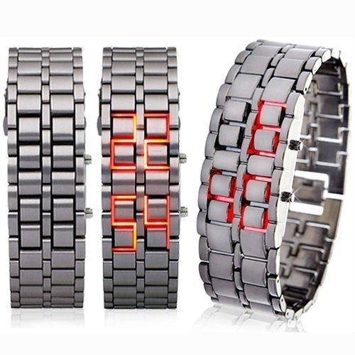 free shipping 20pcs/set LED Watch SHARP Lava Style Iron Samurai Metal hot sale(China (Mainland))