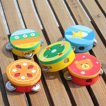 Educational Cartoon Wooden Baby Hand Drum Toys Musical Tambourine Beat Instrument Handbell Good Gift(China (Mainland))
