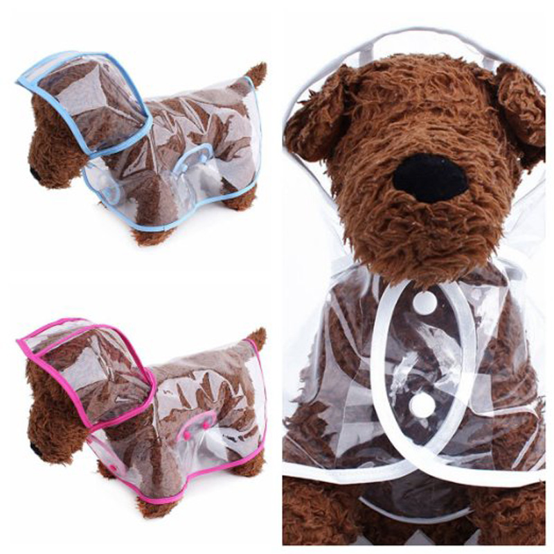 2016 Fashion Pet Dog RainCoat Jacket Clothes Transparent Dog Rain Coat Waterproof Cloak Puppy Chihuahua Rainsuit 5 Colors(China (Mainland))