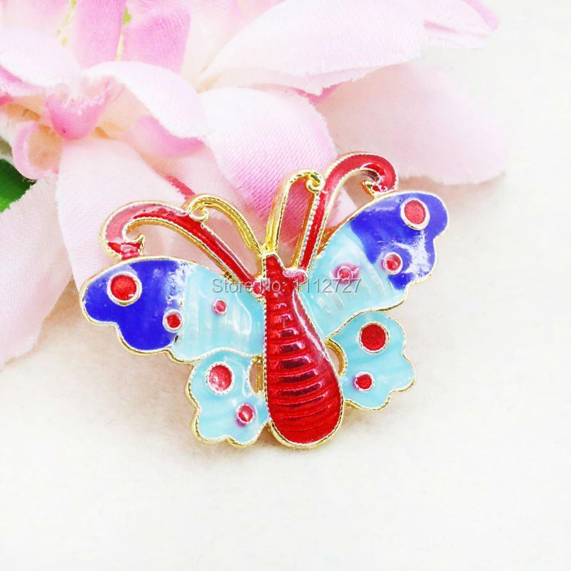 5PCS Fashion Wholesale Butterfly Wings Elegant Cloisonne Jewelry Beads Pendant Copper DIY Fitting Antique Gem 34*23mm(China (Mainland))