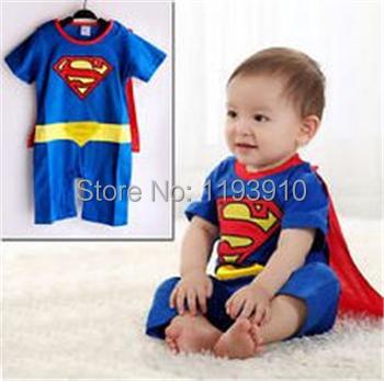 Baby Romper Cotton Superman Batman Short Sleeve Baby Dress Smock Infant Baby Boy Girl Rompers Halloween Costume(China (Mainland))