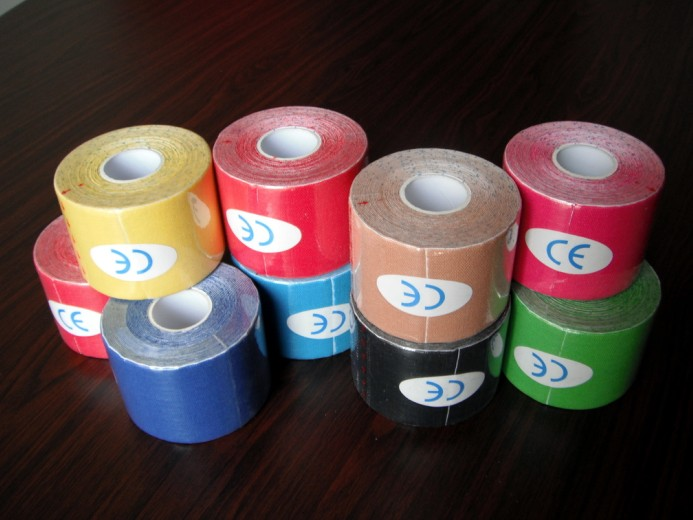 5M*5CM 10 Roll Sports Tape Kinesio Sport Physio Muscle Strain Injury Support Muscles Care Strap Physio Adhesive Bandage Freeship(China (Mainland))