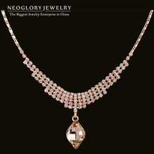 Neoglory Austria Crystal Rhinestone Rose Gold Plated Choker Pendant Necklace For Women New 2015 Arrival Elegant Charm Jewelry(China (Mainland))