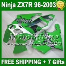 gloss green 7gift KAWASAKI NINJA ZX7R 96 97 98 99 00 01 02 03 L1289 Green white ZX 7R ZX-7R 96-03 1996 1997 1998 2003 Fairi - Motofairing store